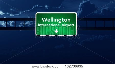 Wellington Airport Highway Road Sign At Night