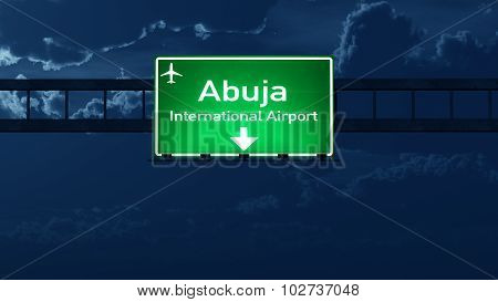 Abuja Nigeria Airport Highway Road Sign At Night