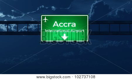 Accra Ghana Airport Highway Road Sign At Night