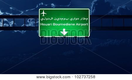 Algiers Algeria Airport Highway Road Sign At Night