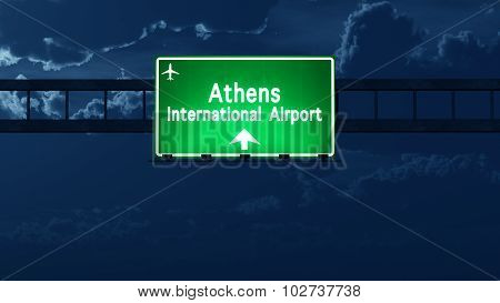 Athens Greece Airport Highway Road Sign At Night
