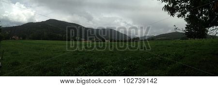 Foggy pyrenees mountains