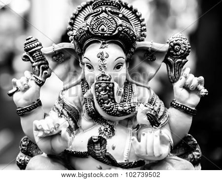 Ganesh Elephant God Statue closeup Black And White High Key