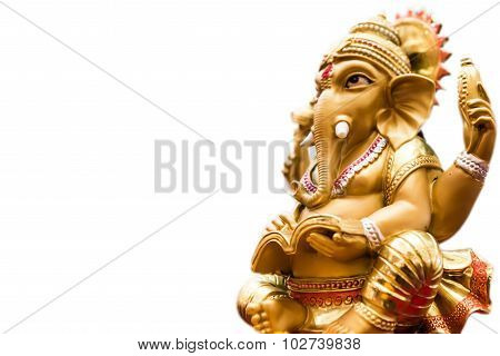 Golden Ganesh Elephant God Statue Isolated On White Background