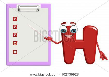 Cartoon Character Of Alphabet H With Notepad