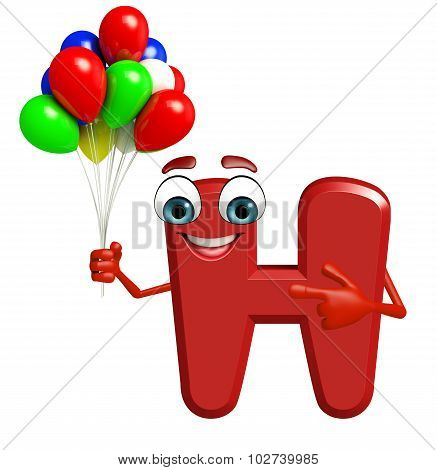 Cartoon Character Of Alphabet H With Balloons