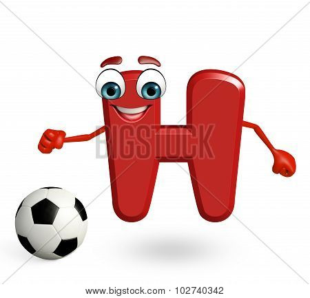 Cartoon Character Of Alphabet H With Football