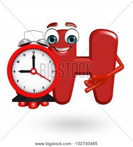 Cartoon Character Of Alphabet H With Clock