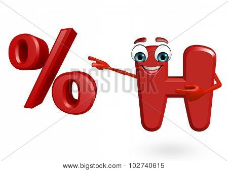 Cartoon Character Of Alphabet H With Percentage Sign
