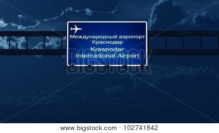 Krasnodar Airport Highway Road Sign At Night