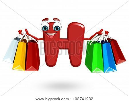 Cartoon Character Of Alphabet H With Shopping Bag