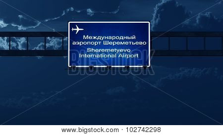 Moscow Sheremetyevo Russia Airport Highway Road Sign At Night