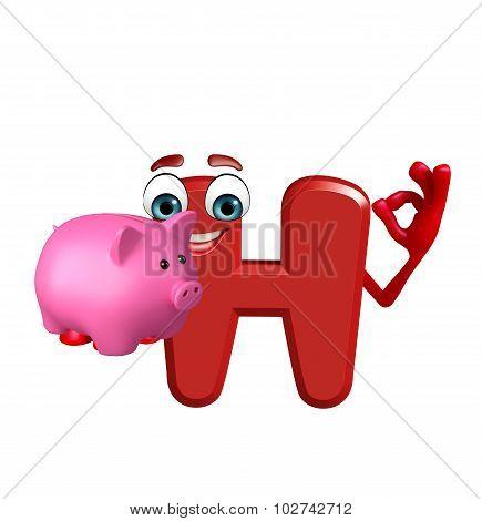 Cartoon Character Of Alphabet H With Piggy Bank