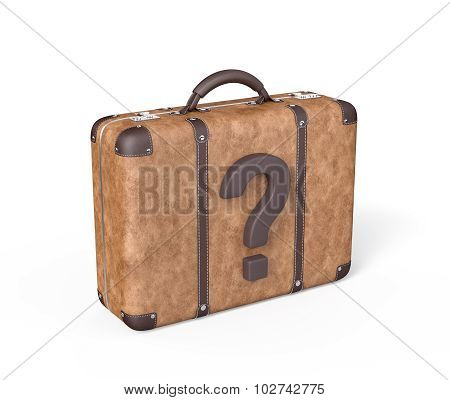 Travel Suitcase With Question Mark