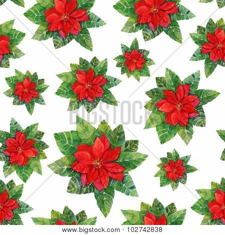 Vintage style watercolour drawing of a bright red poinsettia (Christmas flower) in seamless pattern