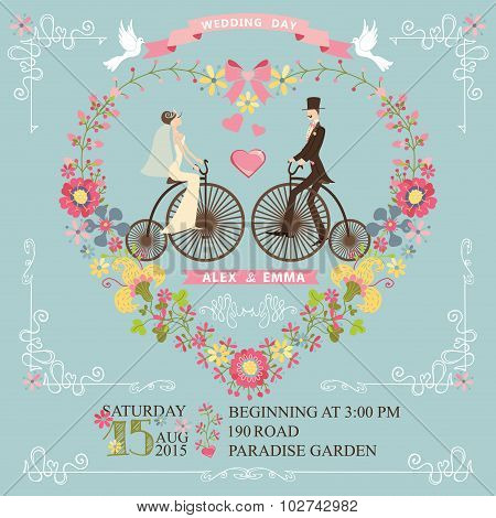Wedding invitation.Bride,groom on retro bike,floral heart