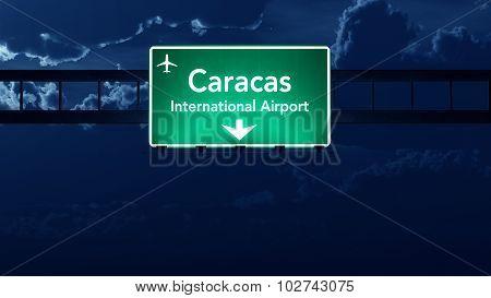 Caracas Venezuela Airport Highway Road Sign At Night