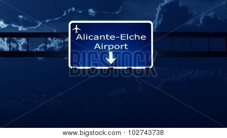 Alicante Spain Airport Highway Road Sign At Night