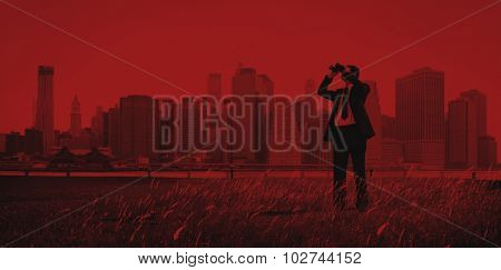 Business Man Searching Binoculars Outdoors Concept