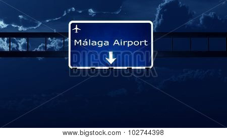 Malaga Costa Del Sol Spain Airport Highway Road Sign At Night