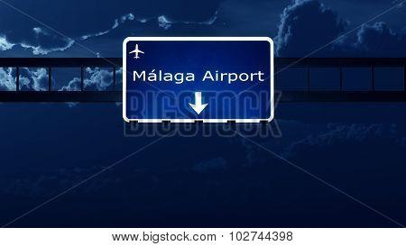 Malaga Costa Del Sol Spain Airport Highway Road Sign At Night