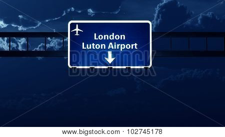 London England Uk Airport Highway Road Sign At Night