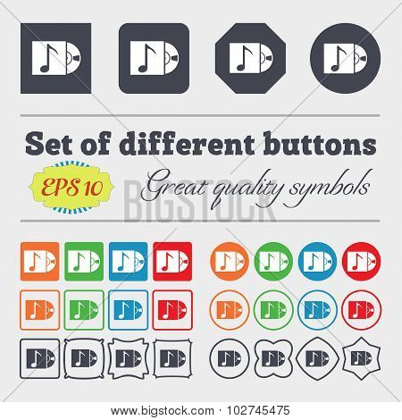 Cd Player Icon Sign. Big Set Of Colorful, Diverse, High-quality Buttons. Vector