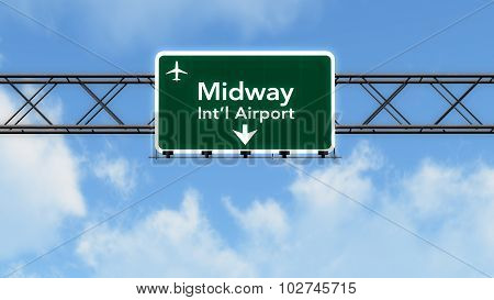 Chicago Midway Usa Airport Highway Sign