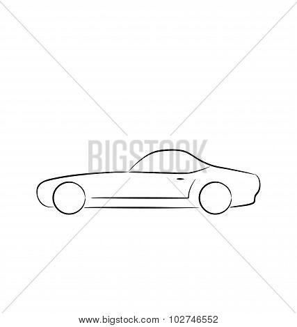 Abstract sport car profile isolated on white background