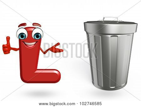 Cartoon Character Of Alphabet L With Dustbin