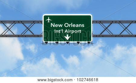 New Orleans Usa Airport Highway Sign