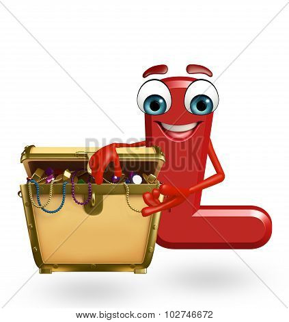 Cartoon Character Of Alphabet L With Treasure Box