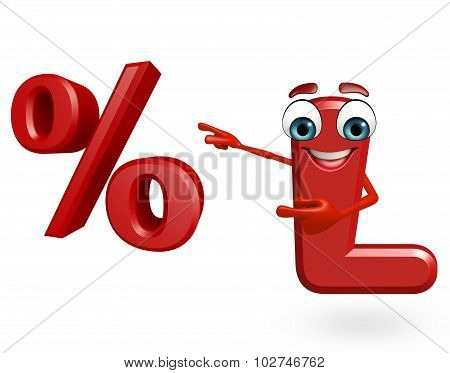 Cartoon Character Of Alphabet L With Percentage Sign