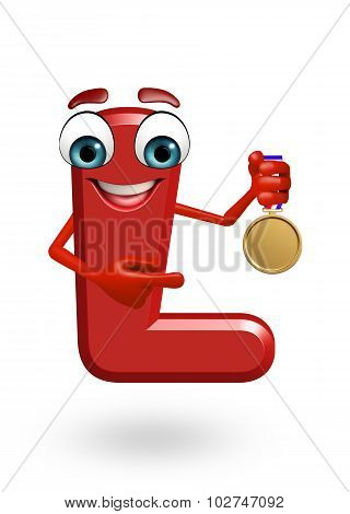 Cartoon Character Of Alphabet L With Medal