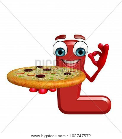Cartoon Character Of Alphabet L With Pizza