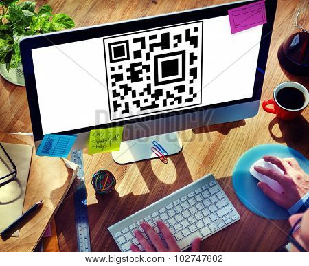 QR Quick Responding Code Easy Searching Internet Concept