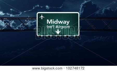 Chicago Midway Usa Airport Highway Sign At Night