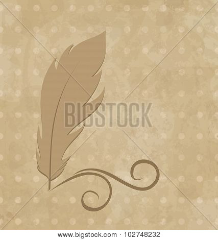 Feather calligraphic pen, vintage background