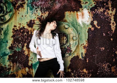 urban hip hop dancer with grunge  rusty background