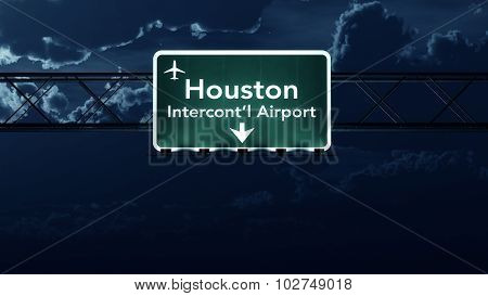 Houston Usa Airport Highway Sign At Night