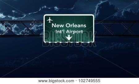 New Orleans Usa Airport Highway Sign At Night