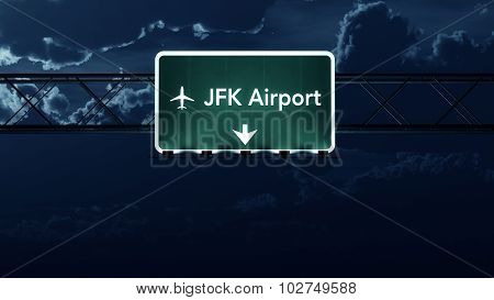 New York Jfk Usa Airport Highway Sign At Night