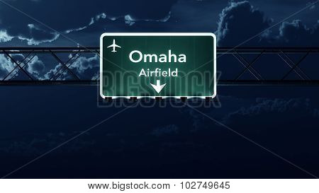 Omaha Usa Airport Highway Sign At Night