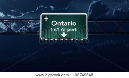 Ontario Usa Airport Highway Sign At Night