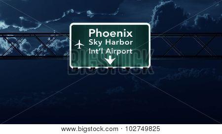 Phoenix Usa Airport Highway Sign At Night