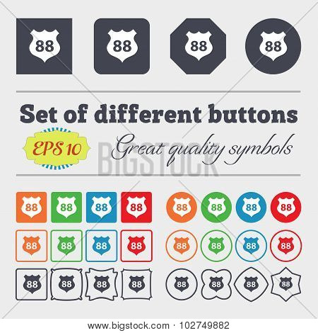 Route 88 Highway Icon Sign. Big Set Of Colorful, Diverse, High-quality Buttons. Vector