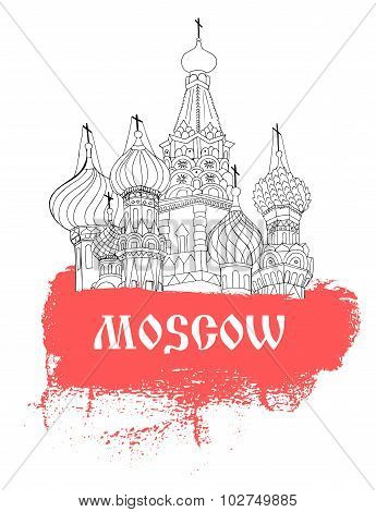Moscow, Red Square, Cathedral In Sketch Style