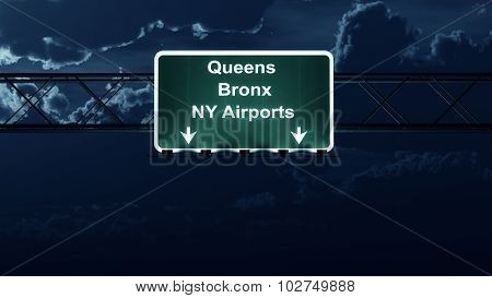 Queens Bronx Ny Airports Usa Highway Sign At Night