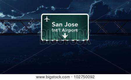 San Jose Usa Airport Highway Sign At Night