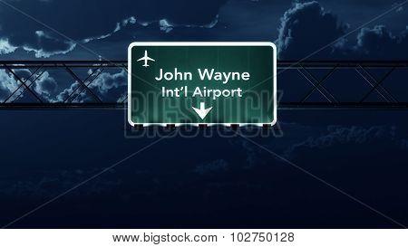 Santa Ana Usa Airport Highway Sign At Night